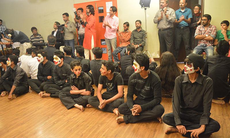 .—Young students based in Lyari at the Music, Art, Dance School Society.—Zahra Salahuddin