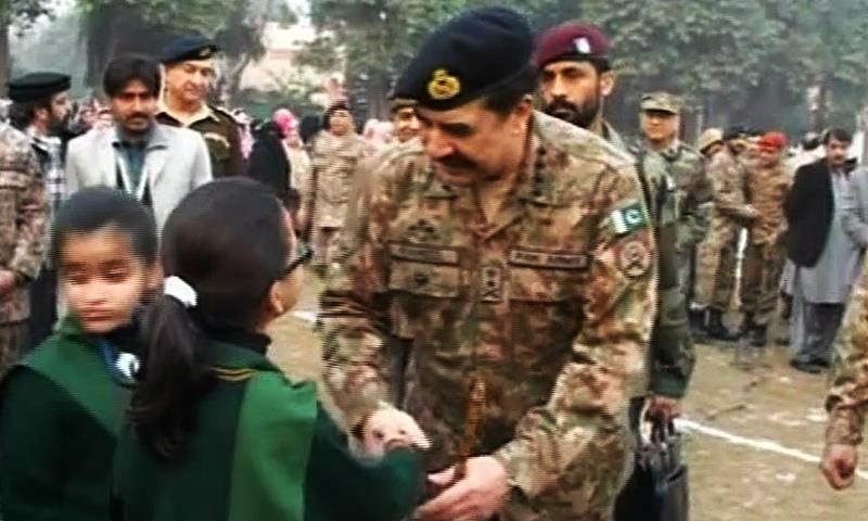General Raheel Sharif meeting students at the Army Public School in Peshawar. — DawnNews screengrab