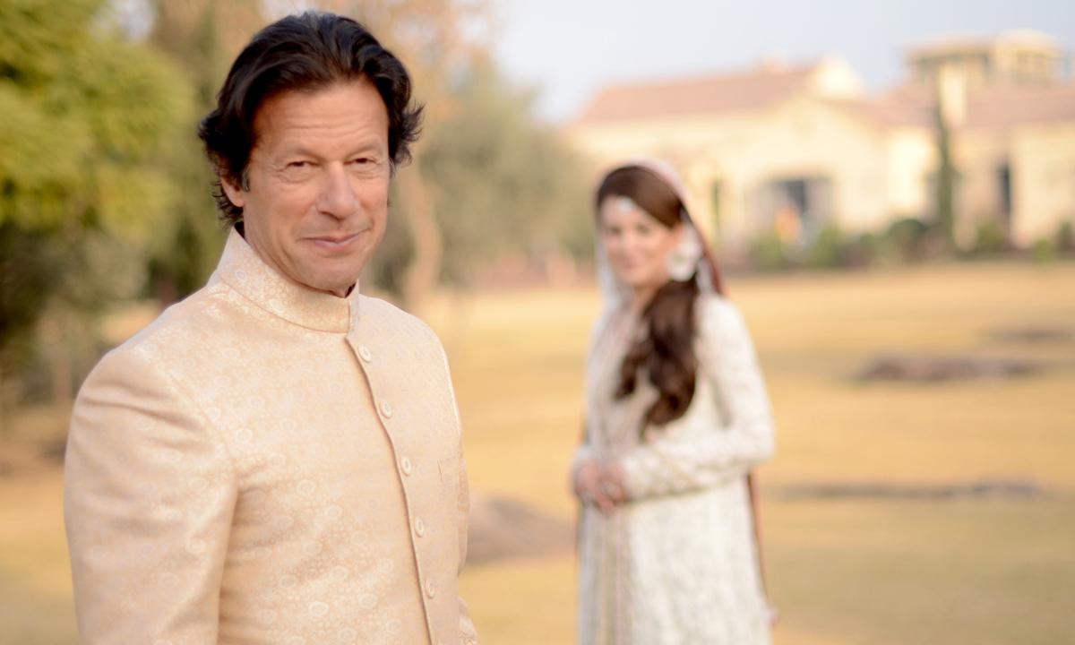 Imran Khan chose to wear a simple cream sherwani. — Photo by Belal Khan