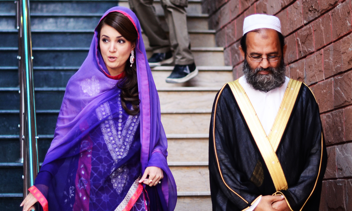 Reham Khan with Mufti Saeed at his Madrassa.—Photo by Belal Khan