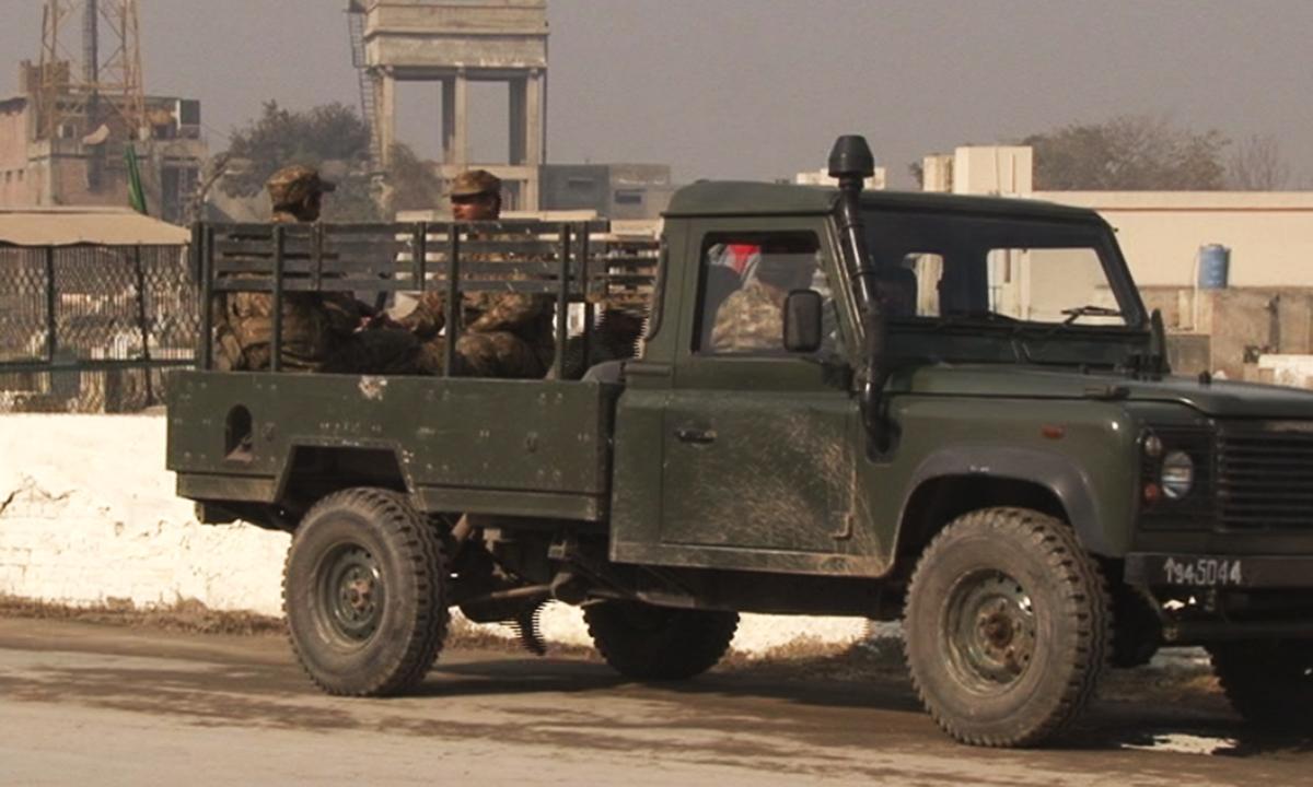 Heavy security was seen outside APS.  — Zahir Shah Sherazi