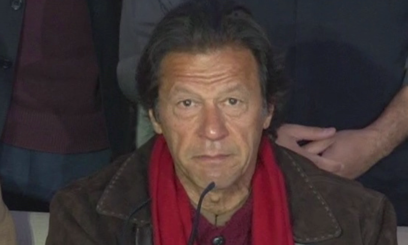 PTI chairman Imran Khan speaking during a press conference in Islamabad. -DawnNews screengrab