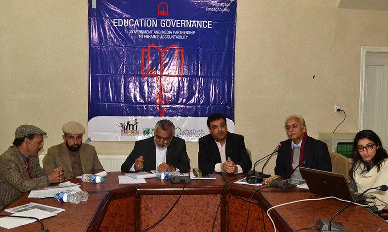 Advisor to CM on Education Sardar Raza Barach speaks on the education crisis in Balochistan at the Quetta Press Club. -INP Photo