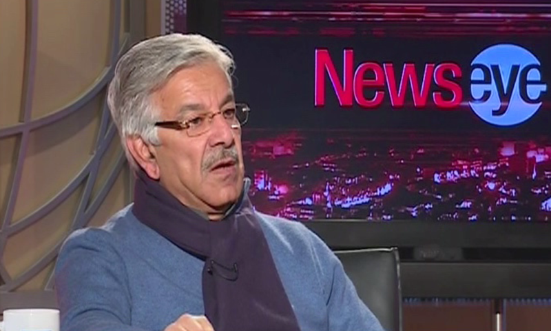 Screengrab shows Defence Minister Khawaja Asif speaking during the interview on DawnNews.