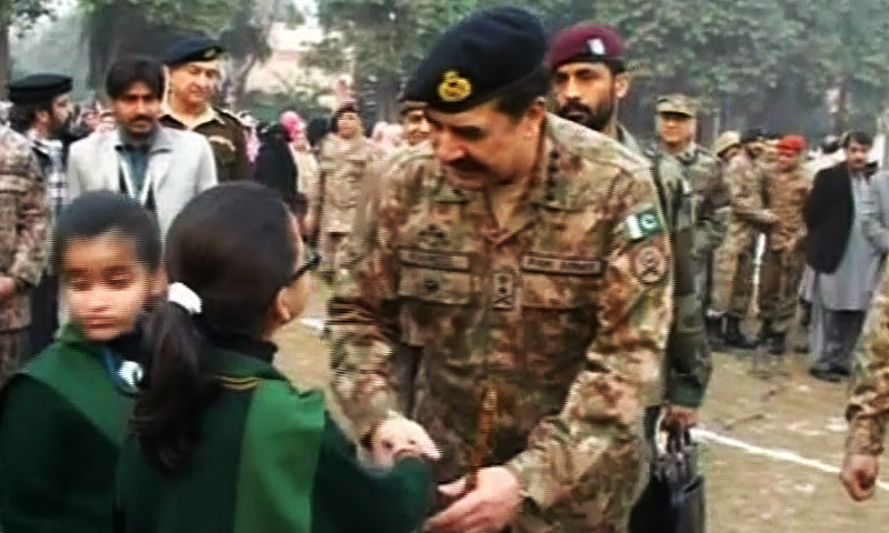 General Raheel Sharif meeting students at the Army Public School in Peshawar. — DawnNews screengrab