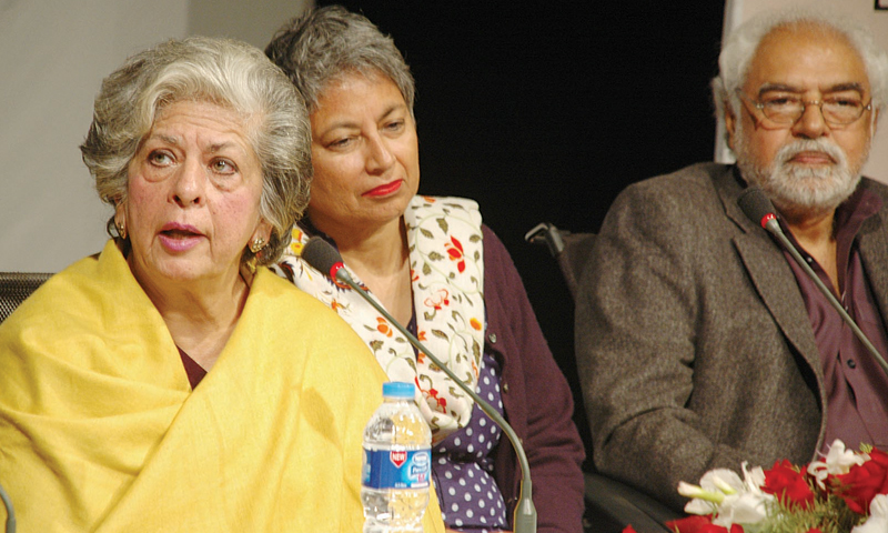 Syeda Abida Hussain speaks at the launch of her book Power Failure: The Political Odyssey of a Pakistani Woman at the PNCA in Islamabad on Monday. — Photo by Ishaque Chaudhry