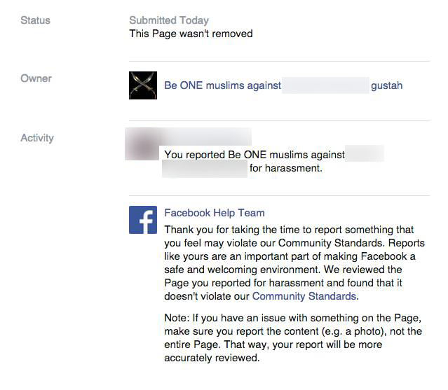 Facebook's message when users reported the page