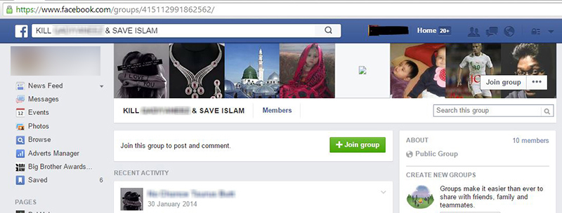 A Facebook page inciting people to kill a minority group.
