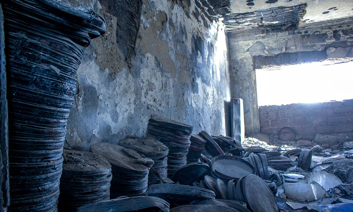 A room full of burnt film reels. — Photo by Muhammad Umar