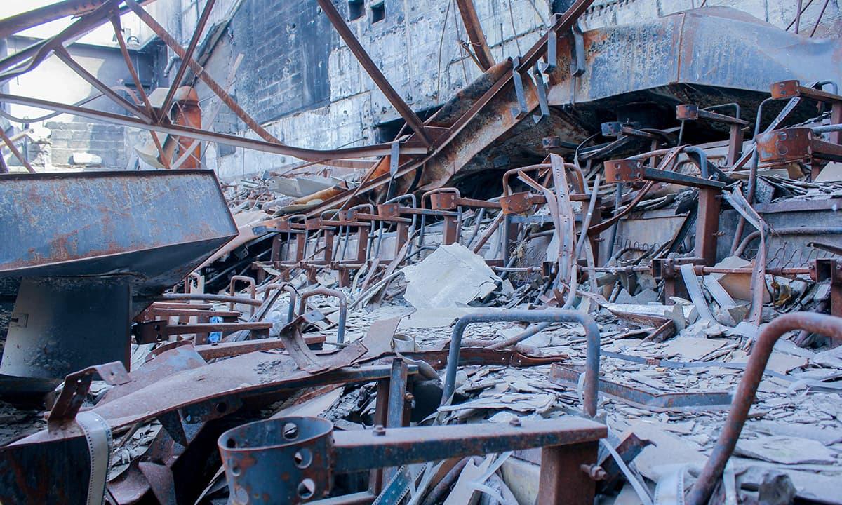 The destroyed cinema seats. — Photo by Muhammad Umar