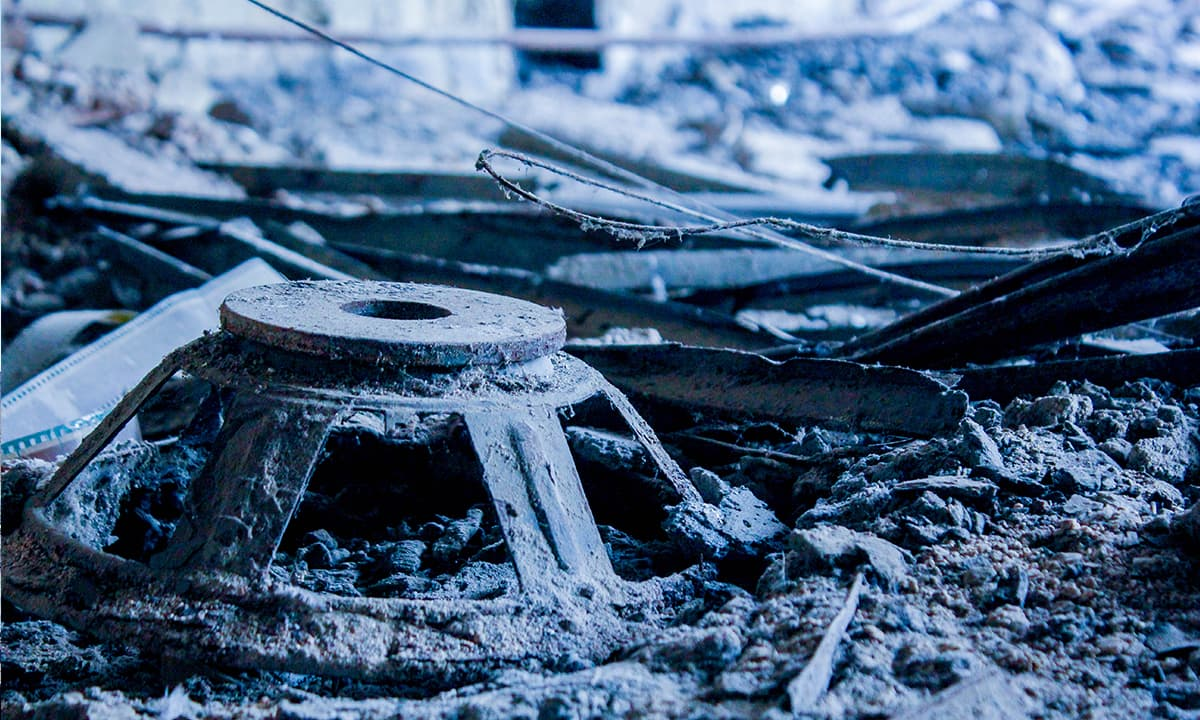 The remains of a destroyed speaker in the rubble. — Photo by Muhammad Umar
