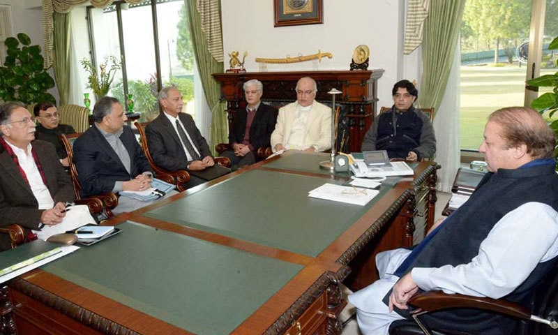 Prime Minister Nawaz Sharif chairing a meeting reviewing prorgress on the implementation of National Action Plan at the PM House. -INP Photo