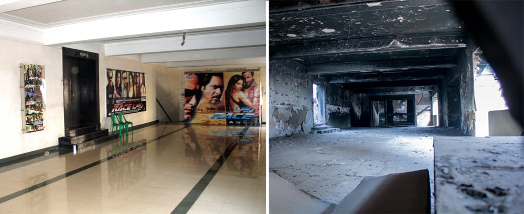 The old hallway inside the cinema (L) and the current charred remains  of the building (R). — Photo by Muhammad Umar, Nishat Cinema official Facebook page