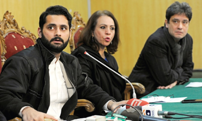Jibran Nasir, Farzana Bari and Shaan Taseer address a press conference at the National Press Club. — Photo by Tanveer Shahzad