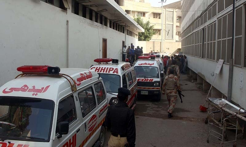 Security of a mortuary is tightening as the bodies of  militants associated with a terrorist organisation are kept in Karachi. — PPI/file