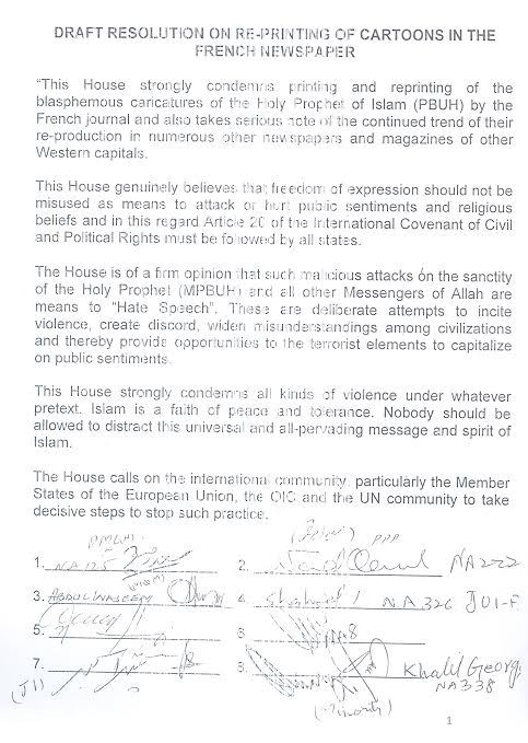 Original text of the resolution passed in the National Assembly.