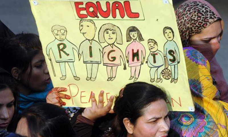 In this photo, civil society representatives carry out demonstration in favour of equal rights for minorities. — AFP/File