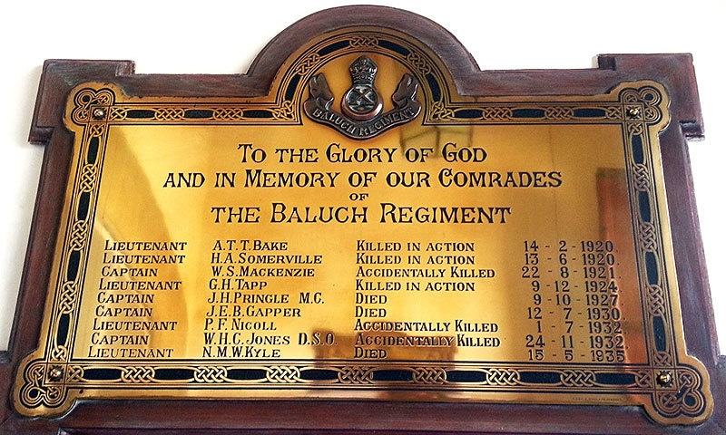 A plaque commemorating the Baloch Regiment inside the Holy Trinity Church