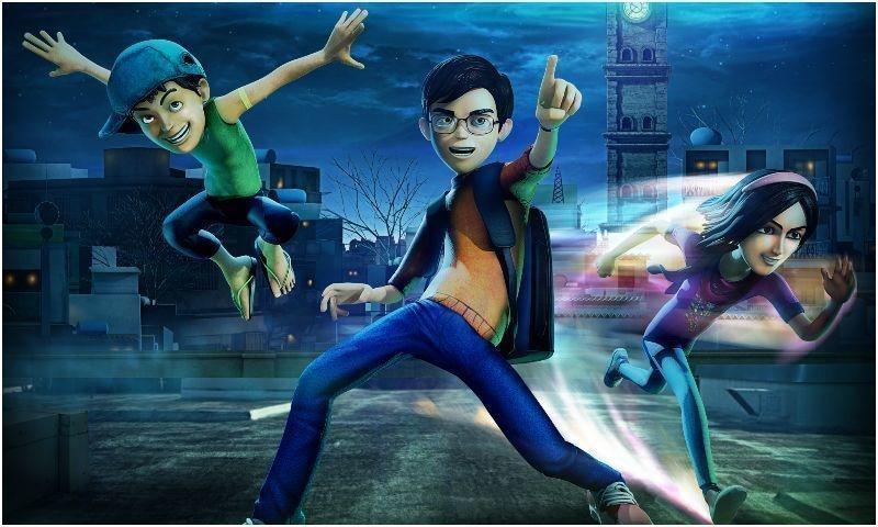 The protagonists (Amna, Saadi and Kamil) of 'Teen Bahadur'. – Publicity photo