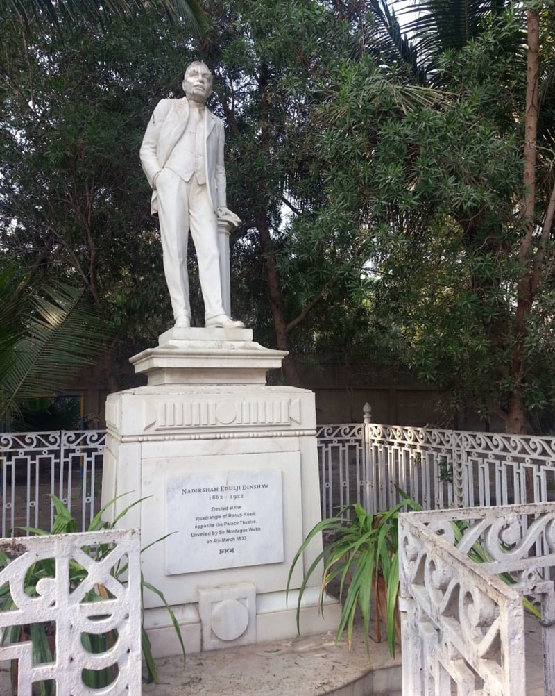 Statue of Nadirshah Edulji Dinshaw, or 'Ned' (1862-1922), at the Karachi Parsi Institute