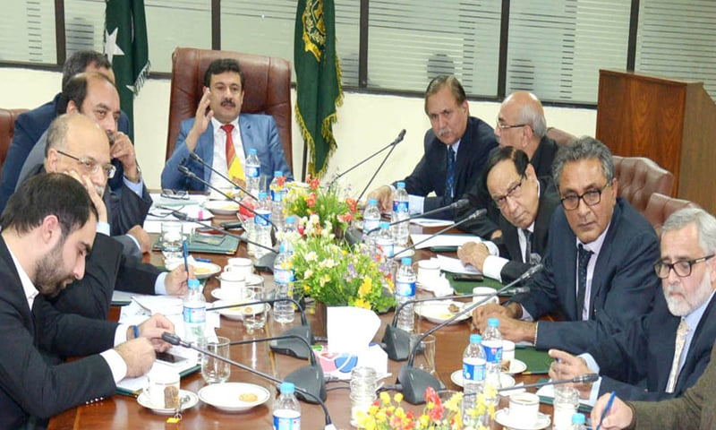 Textile Minister Abbas Khan Afridi chairs meeting of the committee on the draft textile policy on Monday.
