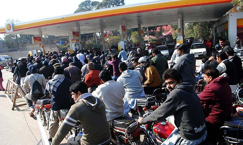 Citizens are in queue to get petrol as commuters in Rawalpindi face hardship due to a severe dearth of petrol at most fuel stations.PPI