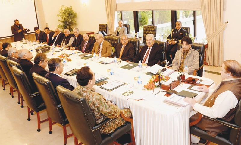 ISLAMABAD: This PID picture shows Prime Minister Nawaz Sharif presiding over a meeting of political and military leaders on the implementation of the National Action Plan at the PM House on Wednesday.