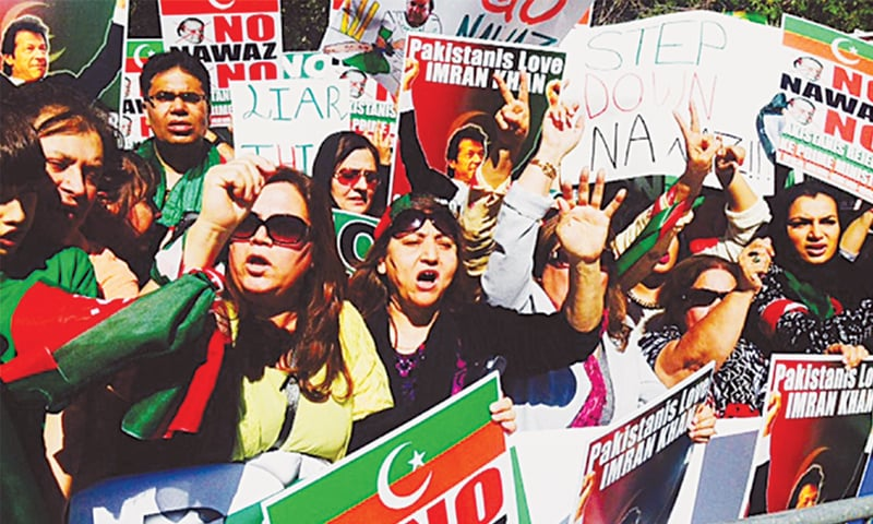 PTI supporters demonstrate against Prime Minister Nawaz Sharif outside the United Nations building in New York while he addressed the UN General Assembly —Online file photo