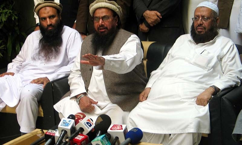 Jamaatud Dawa Chief, Hafiz Mohammad Saeed addresses  mediapersons during press conference in Karachi on Saturday,  January 24, 2015.— PPI