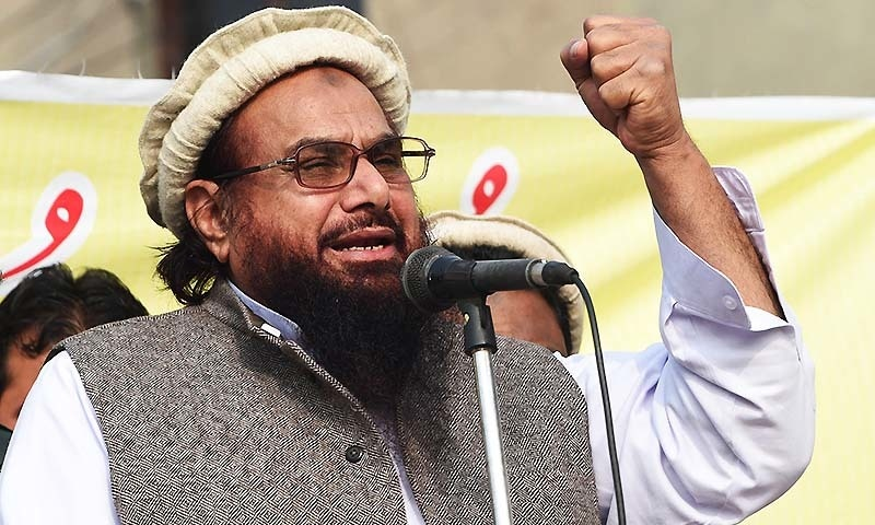 Jamaatud Dawa Chief, Hafiz Mohammad Saeed addresses a rally against the printing of anti-Islam sketches by French magazine Charlie Hebdo, in Lahore on January 23, 2015.— AFP