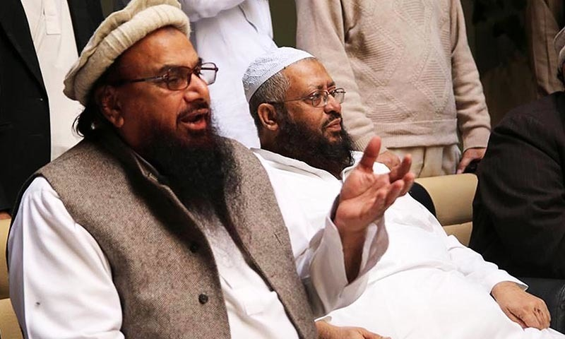 Jamaatud Dawa Chief, Hafiz Mohammad Saeed addresses  mediapersons during press conference in Karachi on Saturday,  January 24, 2015.— Online