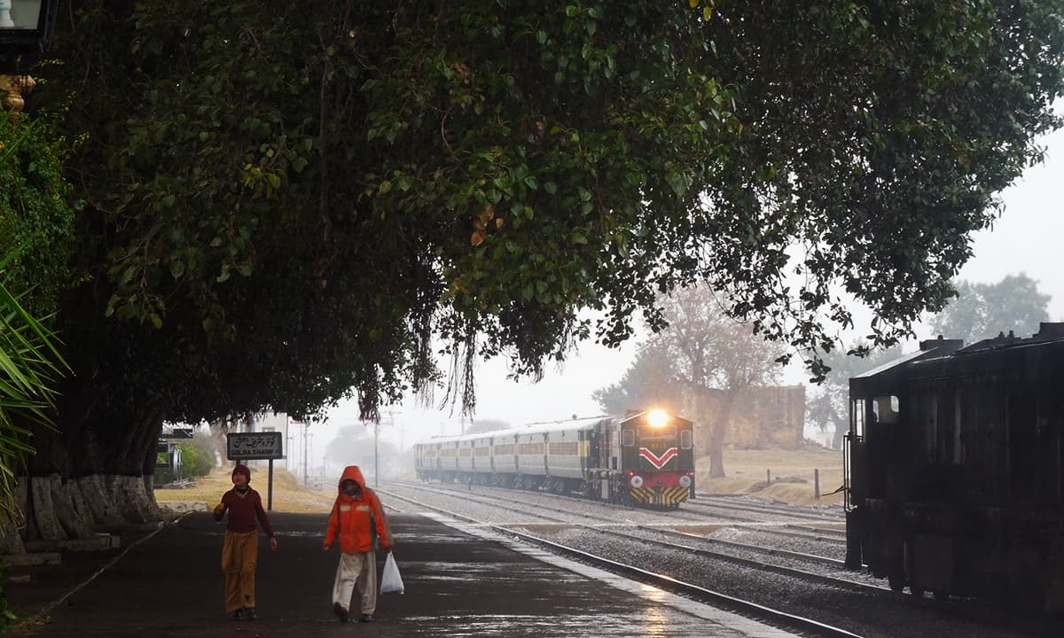 The railway station during rainy weather.