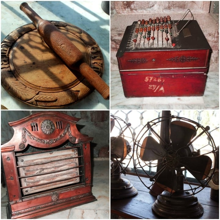 The wooden rolling pin which was used in kitchens of luxury trains during colonial period(L). The electric heater which is claimed to be in personal use of the last Viceroy of India, Lord Mountbatten. The weight of this small heater is approximately 20 kgs(Left bottom). Electric fans which were used in railway offices.(R)