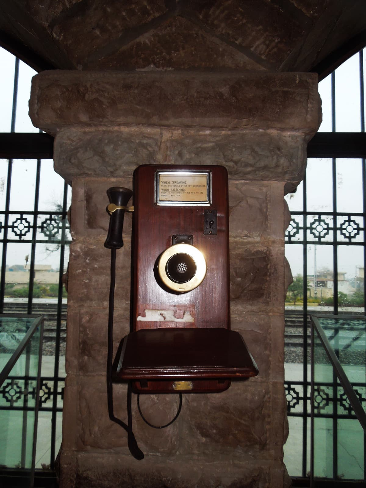 A colonial period telephone which was used in railway stations and trains for communication.