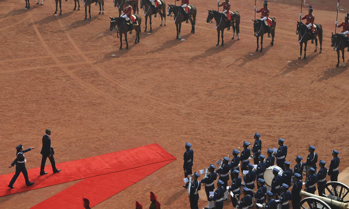US President Barack Obama (2nd L, bottom) inspects a guard of honour during his ceremonial reception at the forecourt of India's presidential palace Rashtrapati Bhavan in New Delhi January 25, 2015.— Reuters