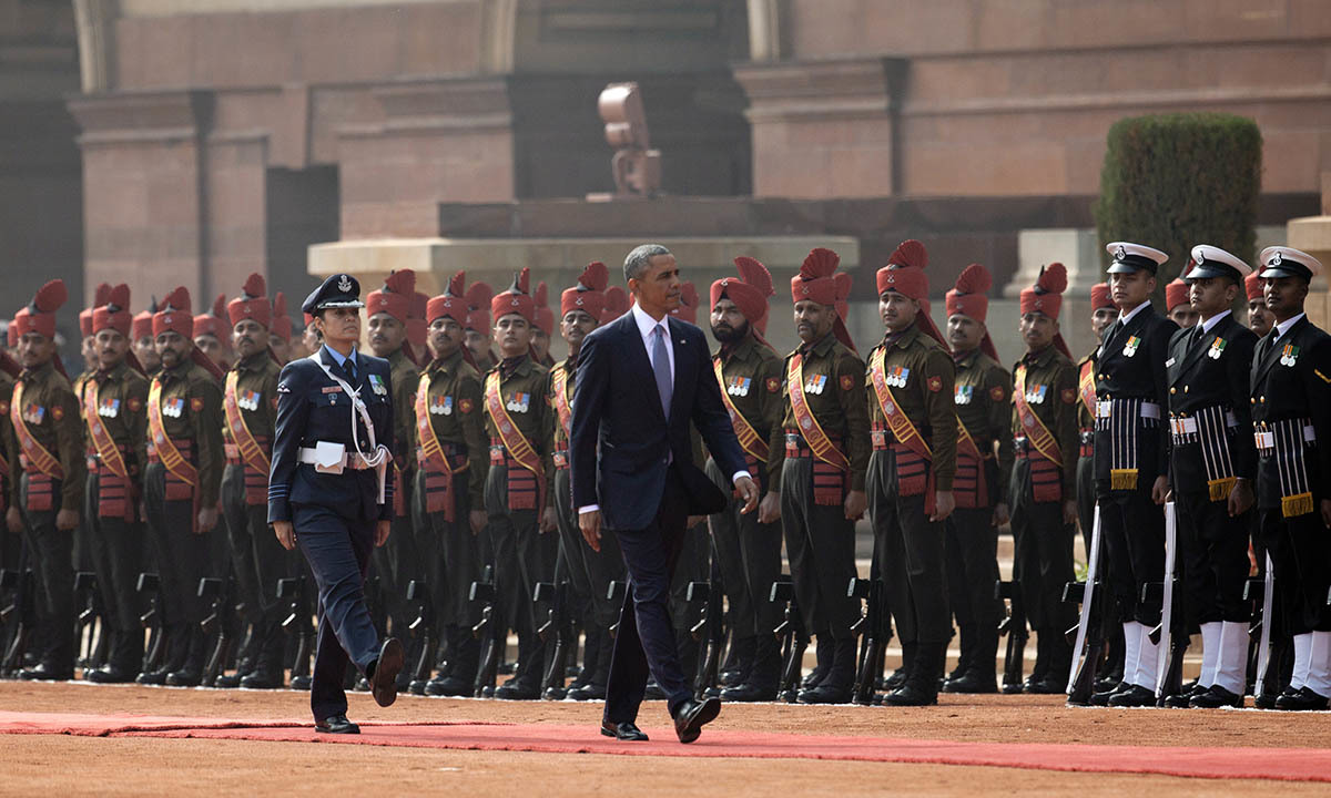 President Barack Obama reviews members of the military during an arrival ceremony at Rashtrapati Bhavan, the presidential palace, in New Delhi, India, Sunday, Jan. 25, 2015. — AP