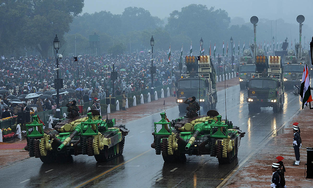 Indian military vehicles and missile launching systems are displayed during the nation's Republic Day parade on Rajpath in New Delhi on January 26, 2015. — AFP