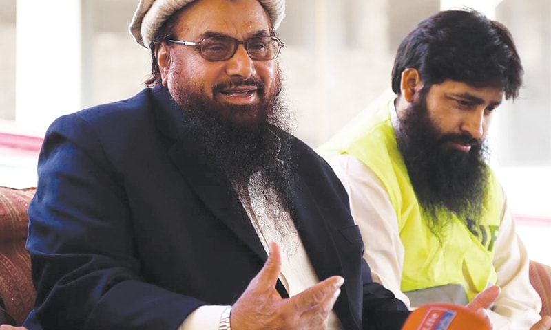 Jamaatud Dawa chief Hafiz Mohammad Saeed speaking at a press conference on Monday.—Online