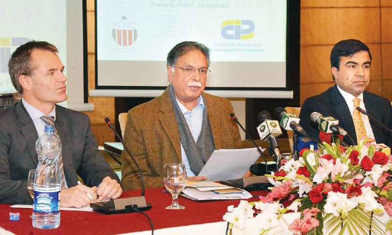 Information Minister Pervaiz Rasheed speaks on the first day of the international media conference on Tuesday.— Online