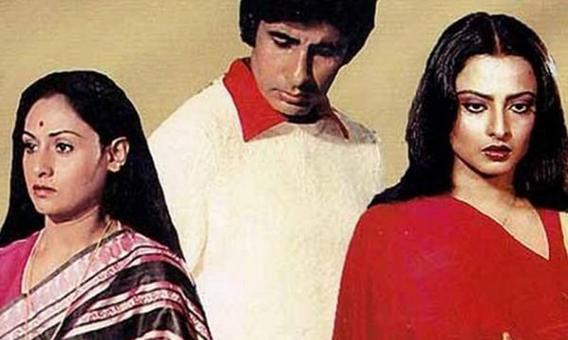 Jaya Bachchan, Amitabh Bachchan and Rekha come together on screen in Silsila. - Photo courtesy: pinkvilla.com