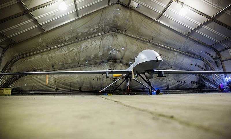 In this photo, a US drone stands inside a hangar at Bagram Air Field in the Parwan province of Afghanistan.— Reuters/File