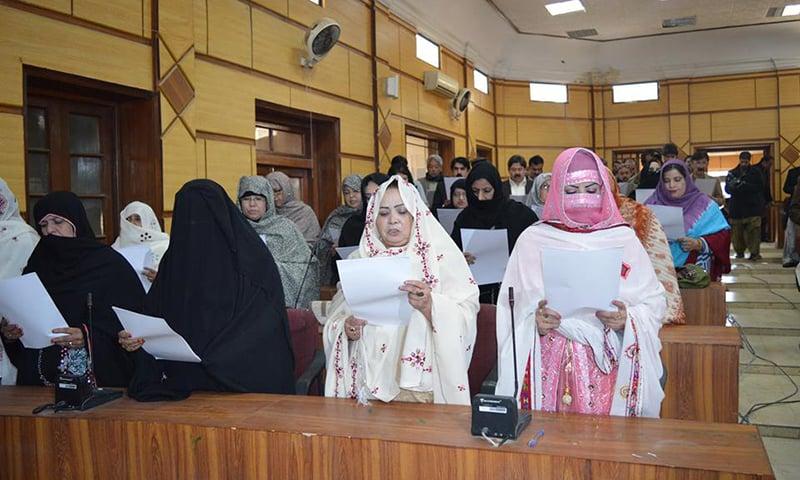 Elected female councilors take oath. — Photo: Hafeez Sherani