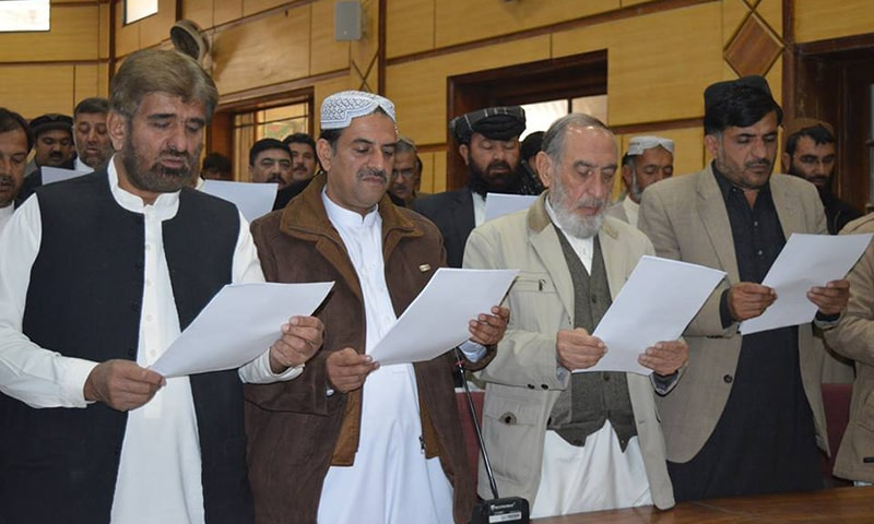 Oath taking ceremony for mayor and deputy mayor of Quetta. — Photo: Hafeez Sherani