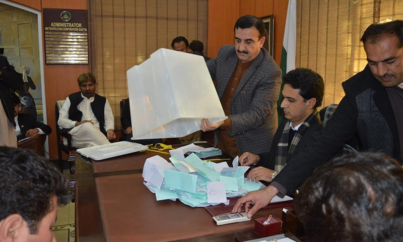 Vote count in progress for Balochistan LB polls. — Photo: Hafeez Sherani