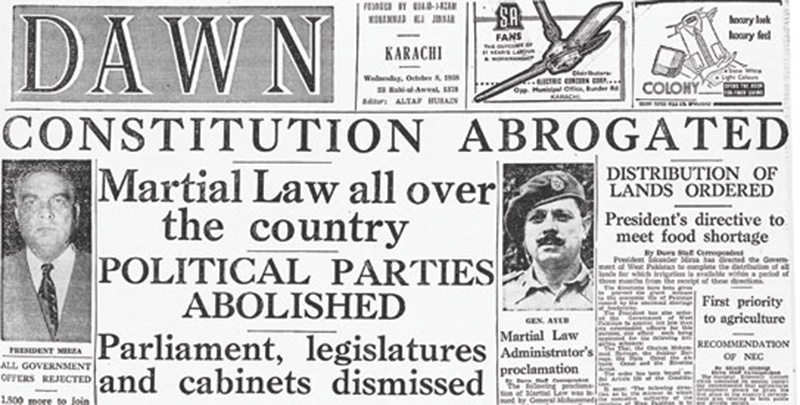 Front page of DAWN a day after the 1958 coup.