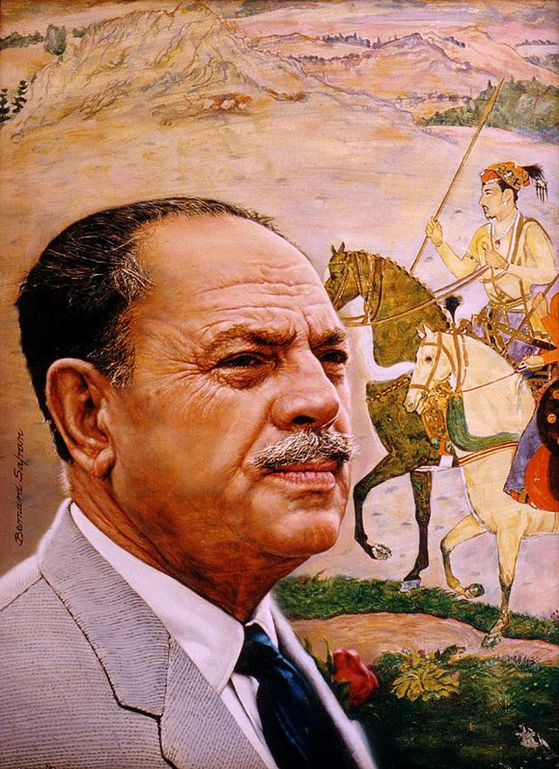 Ayub posing with a painting of famous Mughal Emperor Akbar. To Ayub, Jinnah's vision of Pakistan was about a robust Muslim-majority state with a strong economy (based on heavy industry), a sturdy military, and cultural and scientific advancements made through modern means.