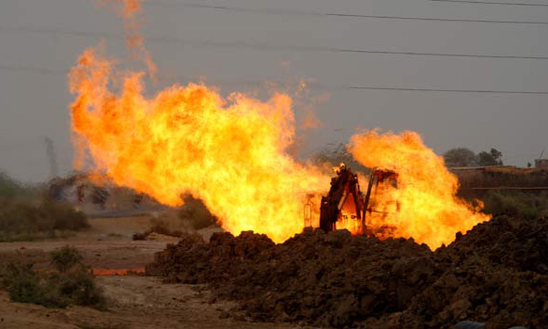 This representative image shows fire erupting off a gas pipeline after a militant attack. — Dawn/File