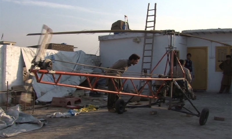 Ultralight helicopter made by two brothers in Peshawar