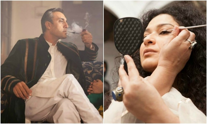 Behind the scenes of 'Kithay Nain Na Jorin' : Adnan Siddiqui (L) and Sania Saeed. – Photo by Alee Hassan