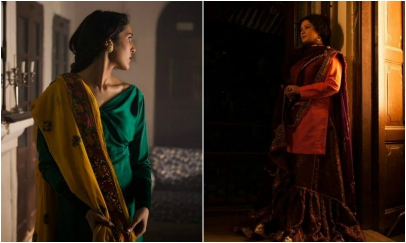 Mira Sethi (L) wearing an outfit designed by Mehrunnisa Khan and Sania Saeed wearing Fahad Hussayn. – Photo by Alee Hassan
